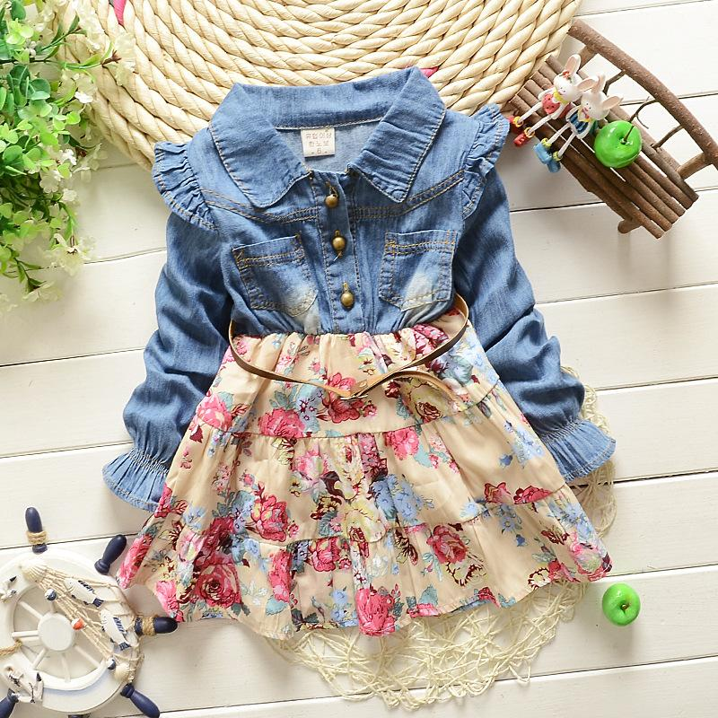 Little Girls Princess Toddler Girl Clothing Dress 2015 Spring Baby Children Clothes Fashion Jeans Denim Kids Dresses Christmas(China (Mainland))