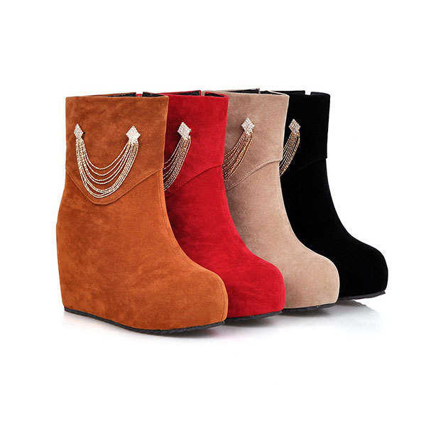 2015 Winter New casual solid color zipper boots round toe wedge heel boots comfortable rhinestone women ankle boots D3203<br><br>Aliexpress