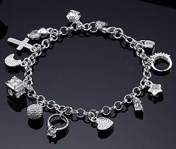 Aliexpress Buy Crazy price Wholesale silver 13 charms bracelet