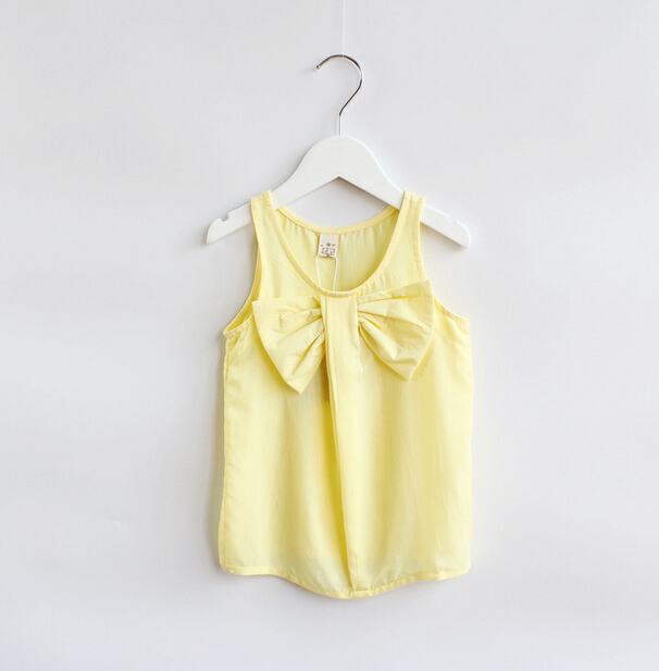 New girls cute vests children cotton t shirts tees bow yellow 6 pcs/lot wholesale 2382<br><br>Aliexpress