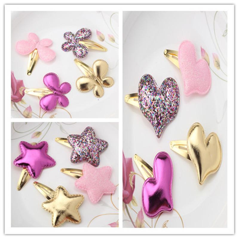 Cute Children Baby Girls Kids Party BB Hair Clips Star Heart Princess Barrettes Ribbon Shiny Glitter Butterfly Hairpins Headwear(China (Mainland))