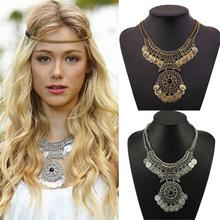 Essential New Fashion Hot Sell Women Bohemian Festival Jewelry Double Chain Coin Statement Necklace Free Shipping Nov05(China (Mainland))