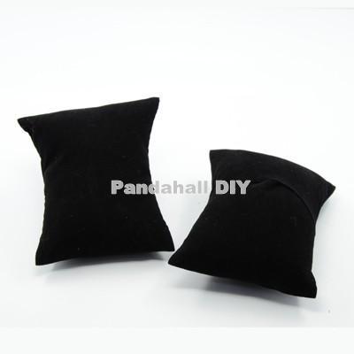 50pcs/lot Rectangle Black Velvet Pillow Jewelry Bracelet Watch Display, with sponge, 88x76x43mm(China (Mainland))