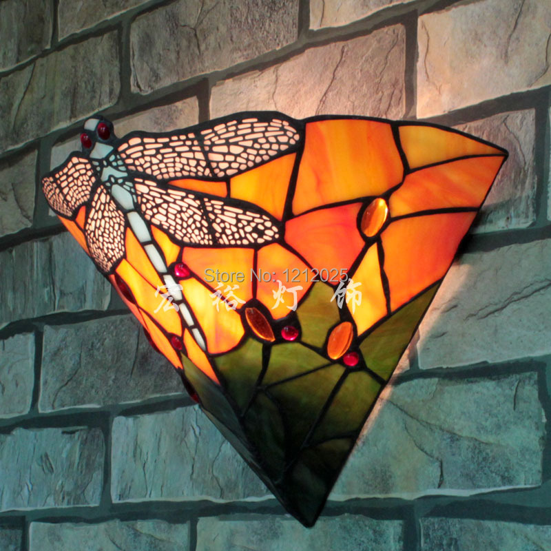 Classic Tiffany Stained Glass Vintage Wall Sconce Lighting Indoor Wall Lamp Dragonfly Design ...