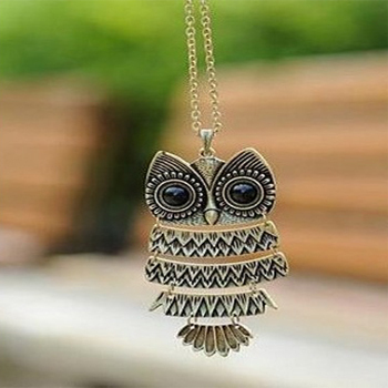 product No Min order. Fashion Hot-Selling Korea Adorn Article Ancient Bronze Silver Owl Necklace cute owl Sweater Chain for women & girl