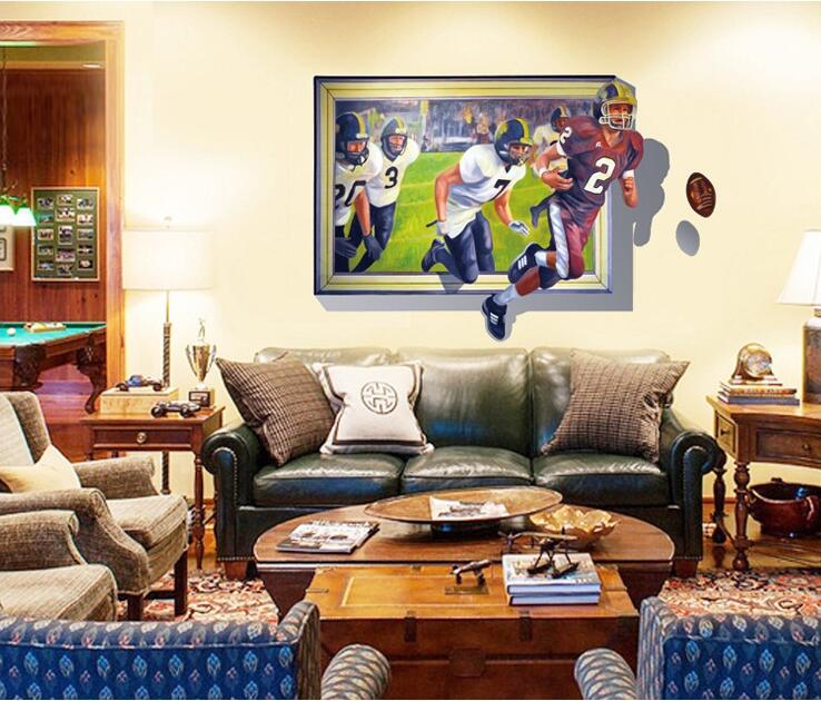 MAARYEE 70*100CM 3D American Football Wall Stickers For Bedroom Bar Postal Decoration Wallpapers Decal Home Decor Mural(China (Mainland))