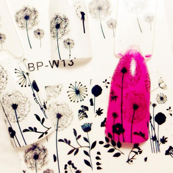 2 patterns sheet flying dandelion nail art water decals - Sticker mural pissenlit ...