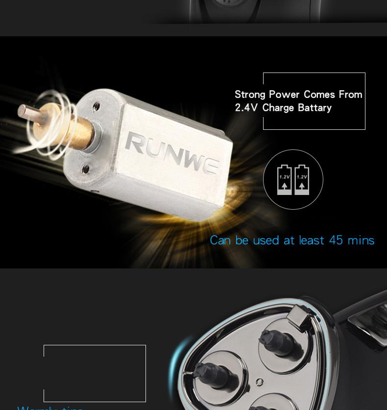 RUNWE Rechargeable Men's Razor Electric Shaver 220V Shaving Machines For Men Rasoir electrique homme 3D Triple Floating Blade