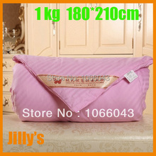 1kg Size 180*210cm 100% Silk Bed sets/ Quilts/Comforter Spring Autumn Use / Single Twin Queen King Full Cotton Handmade Quilts(China (Mainland))