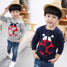 NEW arrival boys sweatshirt clothes kids sweater Cardigan coat children ladybug animal cotton clothing blue gray
