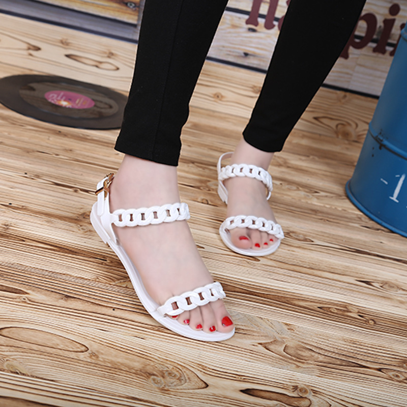 Europe and the United States the new plastic chain beach shoes, candy color jelly sandals chain flat bottomed out toe sandals<br><br>Aliexpress