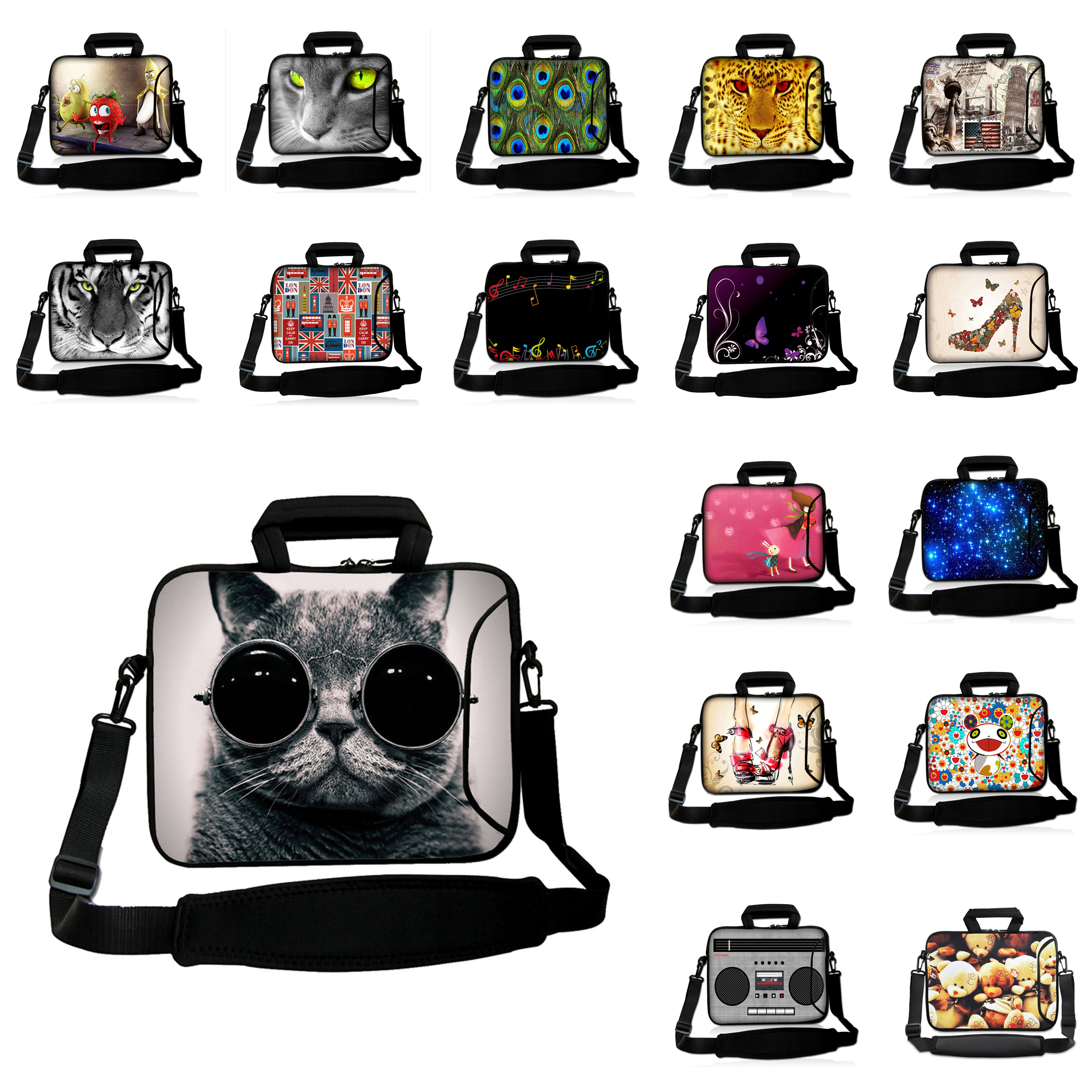 "Shoulder Laptop Bag 15.6 14 13.3 12 10"" Inch Protective Bags Cases + Handle Animals Neoprene Messenger Tablet Bags iPad 2 4"