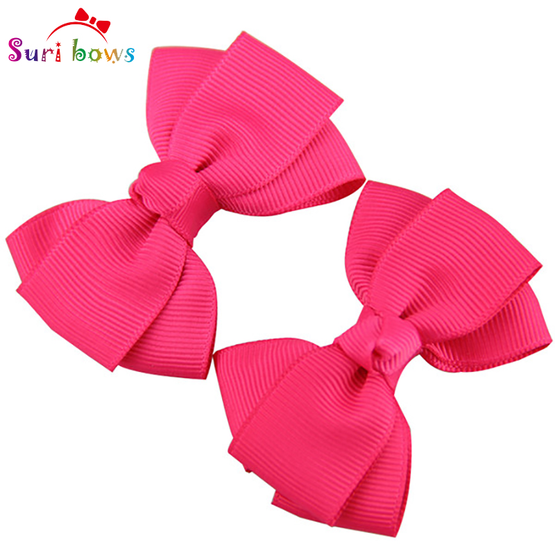 1 Pair Bowknot Hair Clips For Baby Girls Toddler Children Polyester Grosgrain Ribbon Floral Children Headpins FS016(China (Mainland))