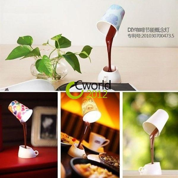 Novelty DIY Coffee Cup LED Down Night Lamp Study Room Bedroom Decoration 3 Cups Home USB or Battery Pouring Coffee Table Light(China (Mainland))