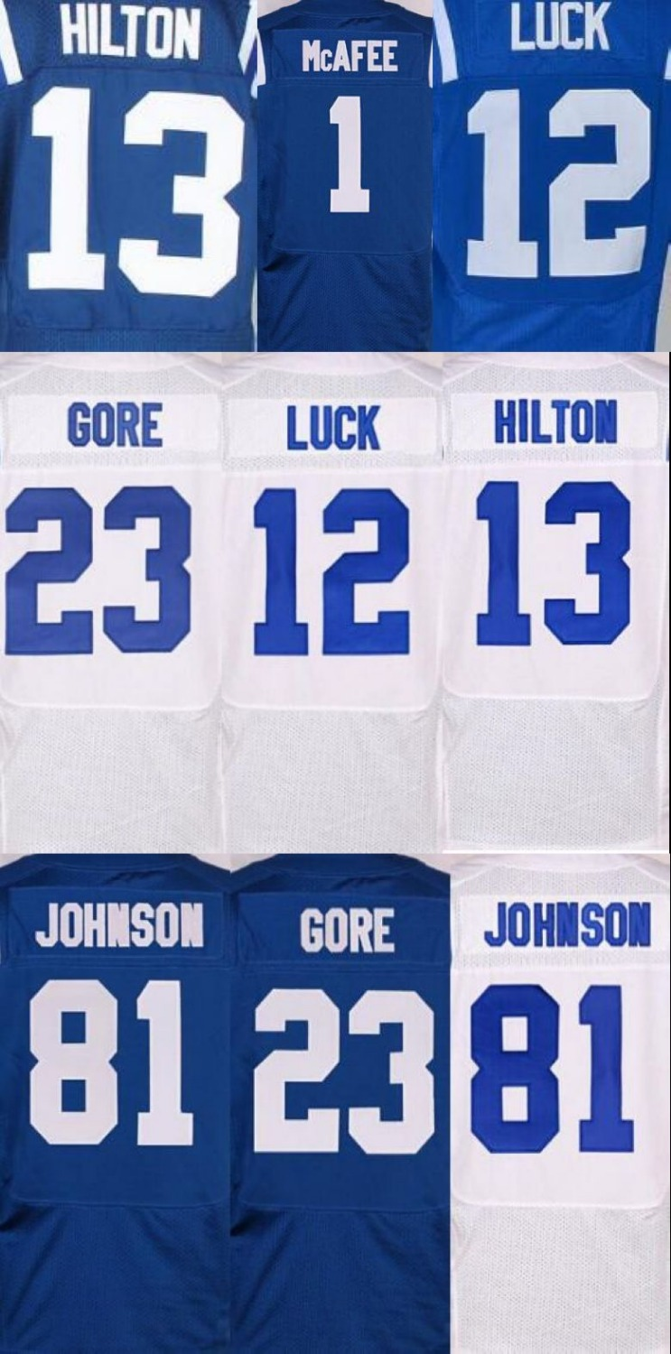 12 Andrew Luck jersey #13 T.Y. Hilton #81 Andre Johnson #1 Pat McAfee stitched best quality stitched(China (Mainland))