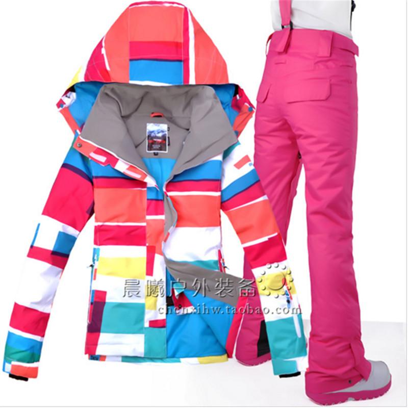 High Quality 2016 New Designer Women's Ski Clothing Suit Ski Jacket + Ski Pant Snowboarding Set Outdoor Clothing for Women(China (Mainland))