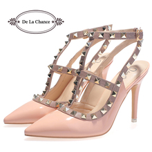 High Quality Brand Designer Rivet Shoes 10cm Patent Leather Studded Slingback Heels Sandals Sexy Women High Heels Sandals Pumps(China (Mainland))