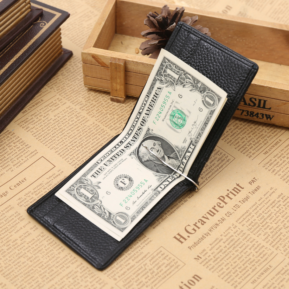 Fashion New Genuine Leather Black Coffee Classical Soft Design Dollar Clip Quality Male Money Clips Wallet For Men Free Shipping<br><br>Aliexpress