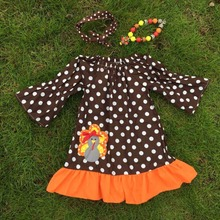 HALLOWEEN costume 2015 new  baby girls Thanks Giving turkey brown polka dot dress with matching bows and chunky necklace set(China (Mainland))
