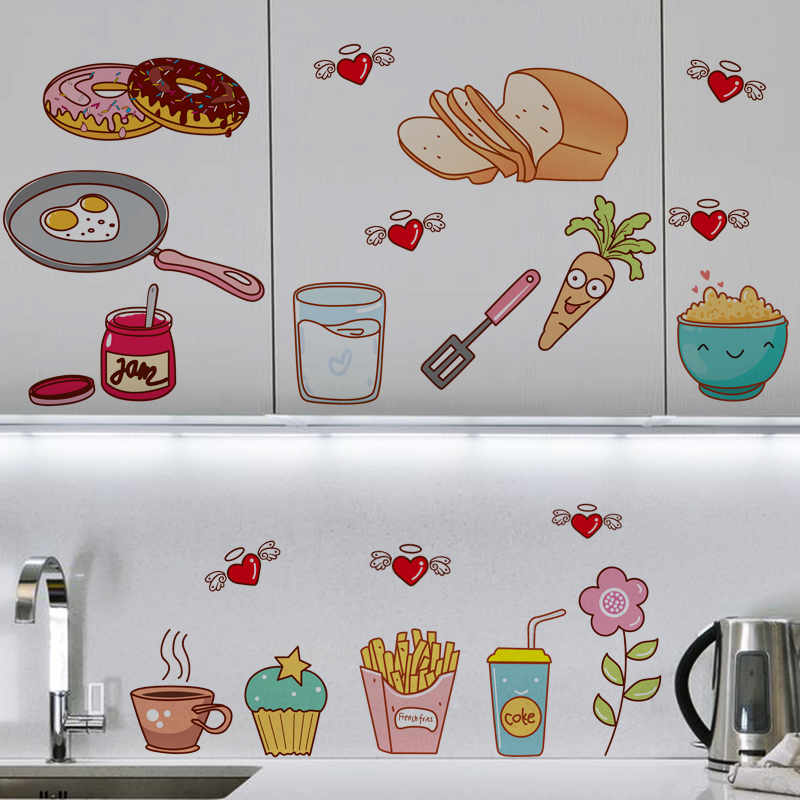 Creative Food Pattern Self Adhesive Vinyl Removable Decal for Kitchen Cabinet Decor Home Decoration PVC Wall Stickers Mural(China (Mainland))