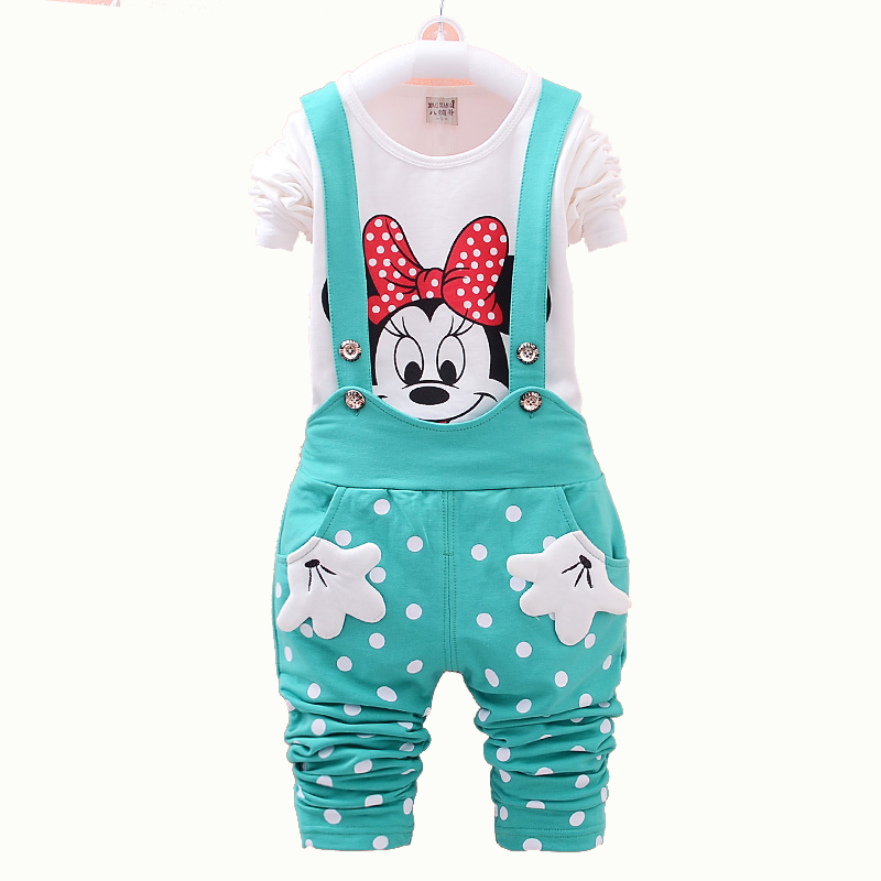 2015 New Autumn Kids Baby Girl Clothing Sets Little Girls Clothes Set Dot Overalls Toddler Girl Clothing Minnie T shirt Jean(China (Mainland))