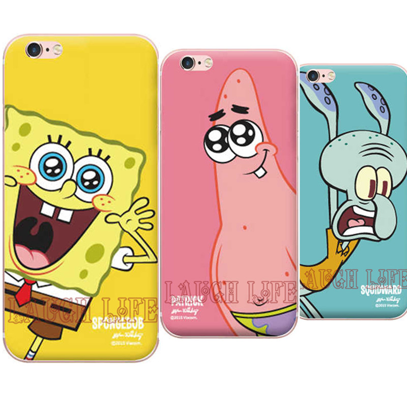 Hot New Sponge Bob Case for iPhone SE 5S 6 6S 6Plus 6S Plus TPU Back Cover Soft Silicone Clear Transparent Ultra Thin TPU Cover(China (Mainland))
