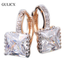 GULICX 2016 Fashion Princess 18k Gold Platinum Plated Hoop Earring for Women White/Black CZ Crystal Zirconia Earing Jewelry E302(China (Mainland))