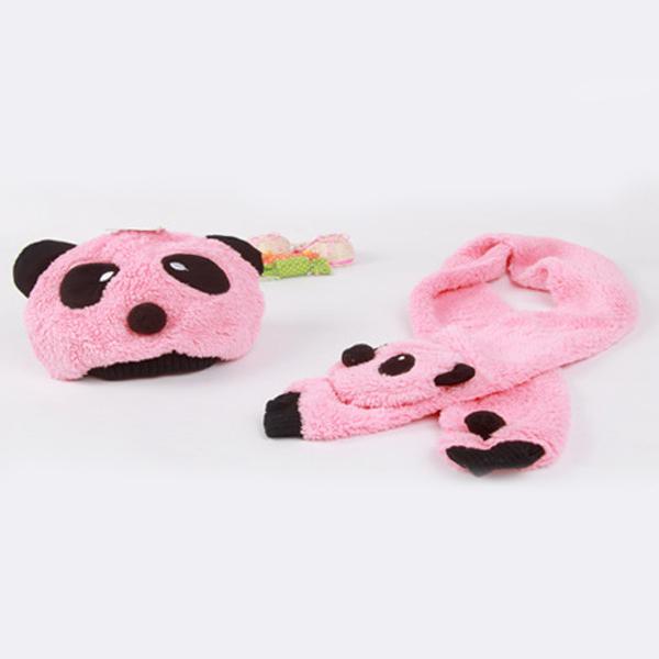 Детские супер теплый дети шерсть панда крышки матч шарф мультфильм шляпа с шарфом ( 1 компл. = 1 кап 1 шарфом ) зима осень tz71516-5