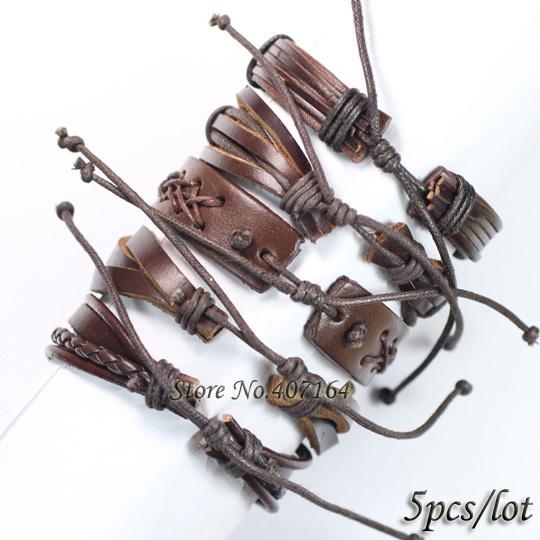 5PCS Vintage brown wristband wholesale handmade genuine real leather bracelets men bangles for women Pulseira Masculina
