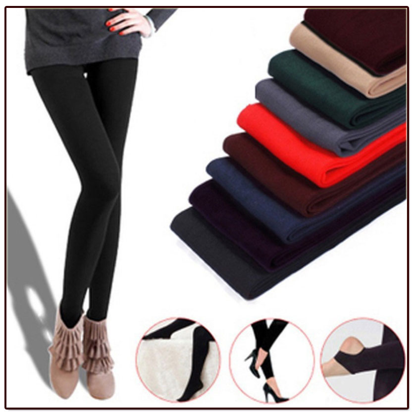 Free shipping Women winter thermal wool leggings Women winter black leggings Promotional discount 5 color tights leggings(China (Mainland))