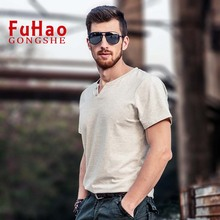 Buy Male 2017 Short Sleeve T Shirt V-Neck Slim Men T-Shirt Camisetas Fashion Casual Hombre Tee Shirt Homme T Shirts 2XL for $11.00 in AliExpress store