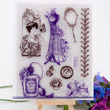 """High quality diy scrapbooking clear stamp"""" vintage lady dress"""" for wedding gift paper card christmas gift DI-117(China (Mainland))"""