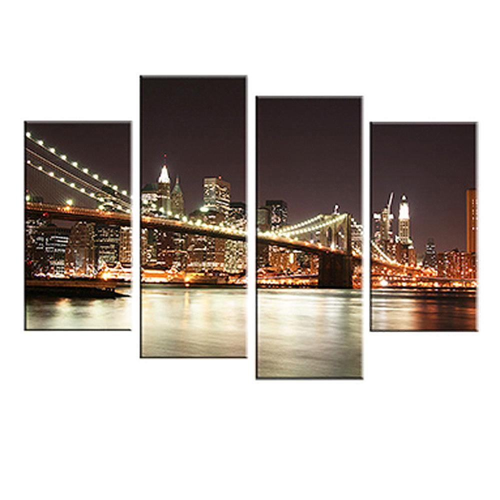 Bridge Night Canvas Prints Oil Painting picture printed Combined Canvas Paints home decoration for living bedroom LA4007(China (Mainland))