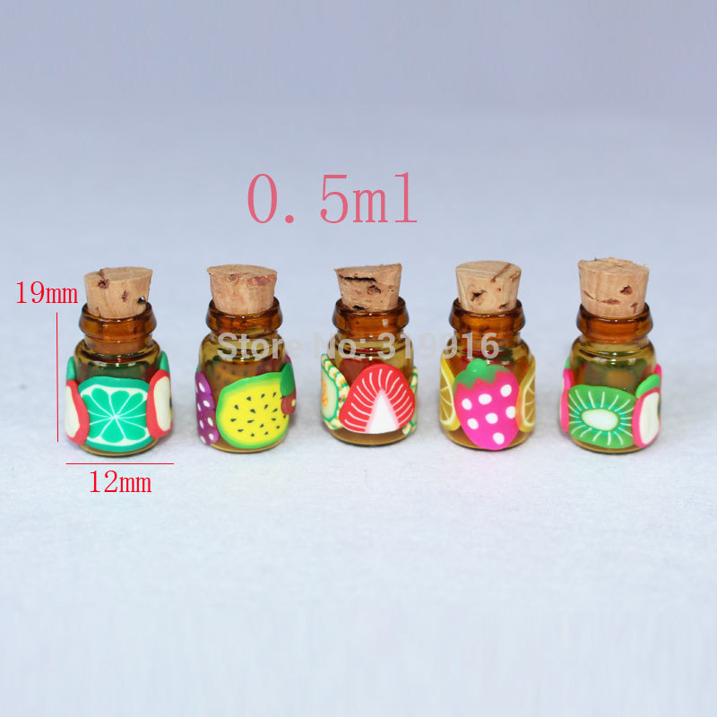 0.5ml x 100 MINI fruits Ceramic essential oils glass bottles with wood cork ,0.5cc refillable empty glass perfume bottle china(China (Mainland))