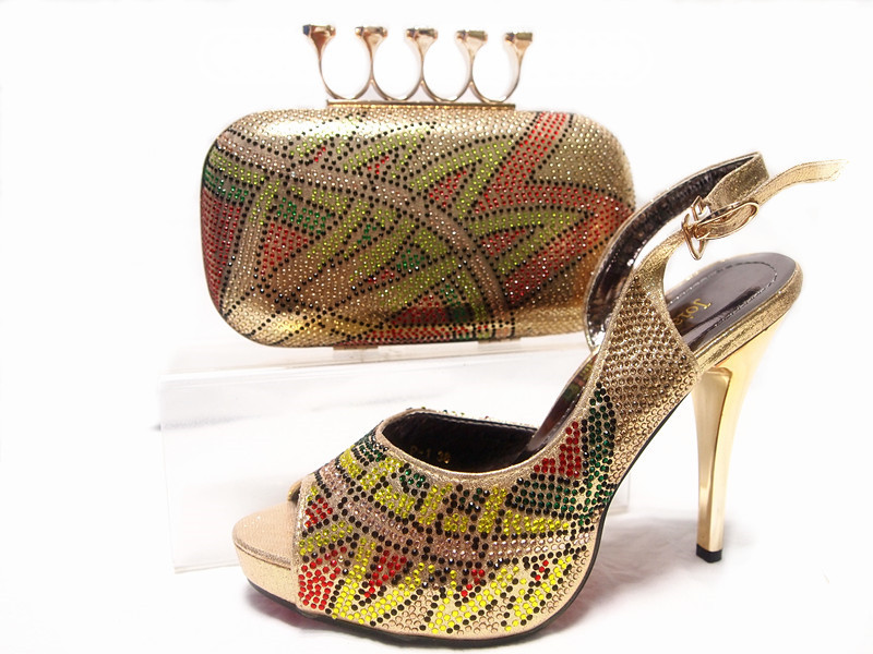 African Shoe and Bag Set,Peep Toe Design Sandals Shoes Italian Matching Shoes and Bags Set for Wedding Women Dress