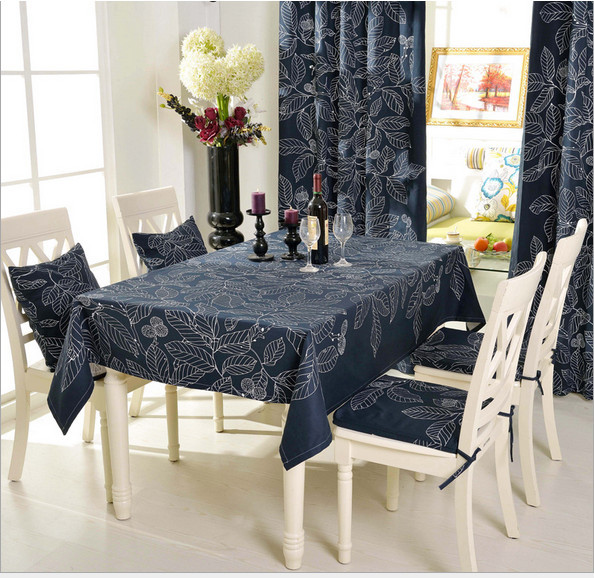 Tablecloth Manteles Para Mesa Tablecloths For Wedding Embroidery Elegant Table Cloth Overlays Rectangle Cotton Leaves Black(China (Mainland))