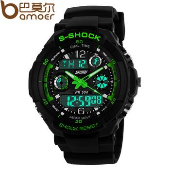S - ударных военные Skmei часы для мужчин 2 раз зоны подсветка кварцевый хронограф силикона спорта наручные часы WA3001