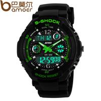 S-Shock Military Watch For Men 2times Zone Back Light Quartz Chronograph Silicone Sport Wristwatch WA3001