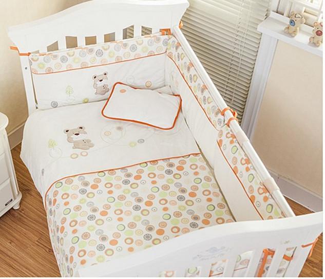 Promotion! Velvet baby bedding set baby crib bedding sets Cot Crib Bedding Set ropa cuna Quilt  (bumper+sheet+pillow+duvet)<br>