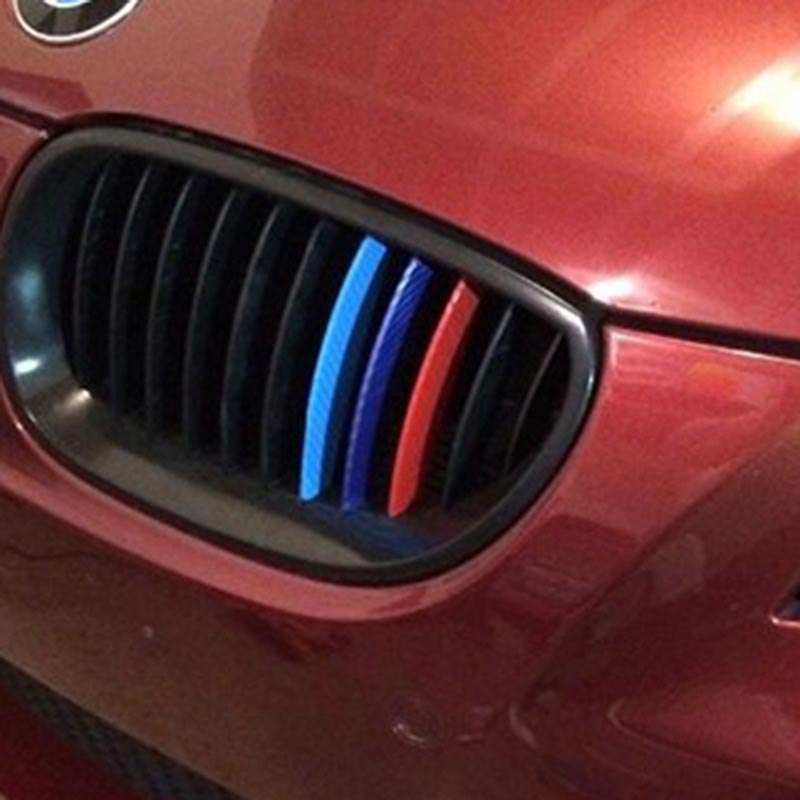 Car Styling Car Sticker 3psc/lot ///M 3D Carbon Fiber Front Grill Stripes Sticker For BMW e46 e90 e39 e60 e36 f30 X3 X4 X5 X6(China (Mainland))