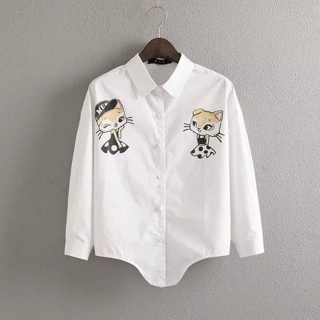 2015 new women's lapel cute cat print female blusa irregular lapel hem shirt blouse kitty printing ladies summer style 88-91(China (Mainland))