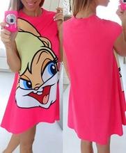 H.J 2016 Summer New Cartoon Mouse Printed Pink O neck A line Mini Dresses Loose Glamorous Dress S  M  L (China (Mainland))