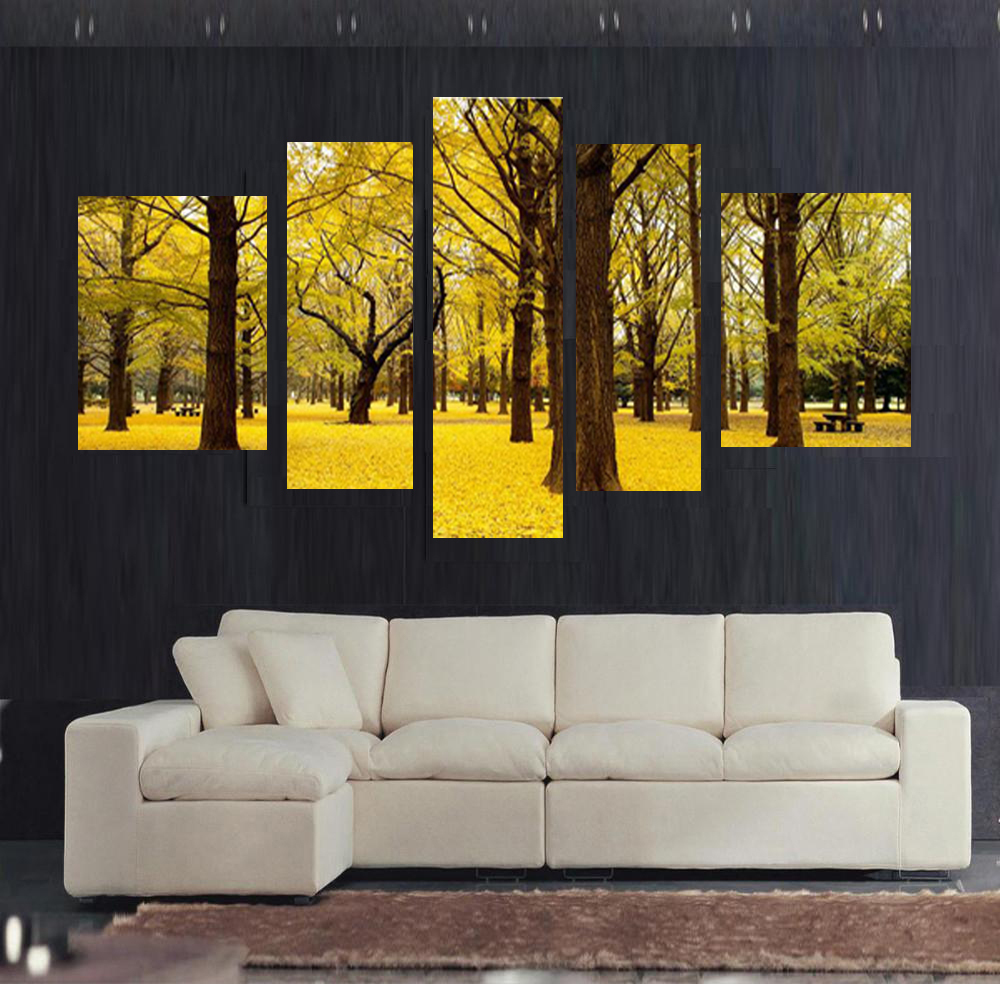 Free shipping 5pcs Autumn scenery yellow leaves Home Decor Wall Art pictures canvas Painting Decorative oil Paintings no frame(China (Mainland))