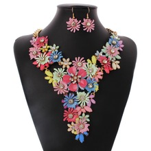 New Arrive Colorful Fashion 18K Gold Crystal Necklace Flowers necklace and earrings Suits N28511(China (Mainland))