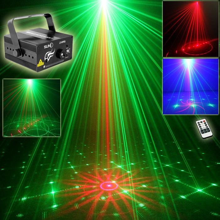 SUNY 3 Lens 18 Patterns Club Xmas RG Laser BLUE LED Stage Lighting DJ Home Party 200mw show Professional Projector Light Disco - suny Official Store store