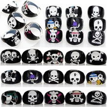 Wholesale Lots 20pcs Black Resin Lucite Skull Pattern Kid Children Rings Jewelry Cheap Rings Jewelry  Free Shipping