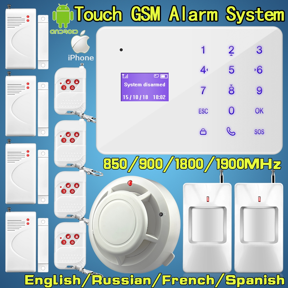 wireless gsm touch keyboard ir door smoke sensors alarm system security home office support. Black Bedroom Furniture Sets. Home Design Ideas