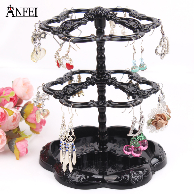 ANFEI Hot selling Chic Retro Rose Pattern Earrings Holder Turnable Jewelry Stand Organizer jewelry holder earring display rack(China (Mainland))