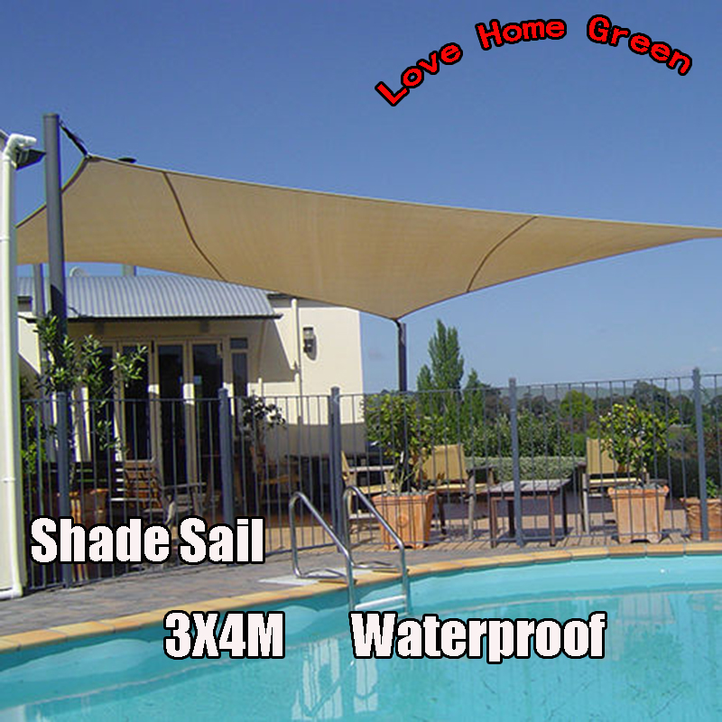new waterproof garden shade sail canopy square sun shade net 3x4m combination awning in shade. Black Bedroom Furniture Sets. Home Design Ideas