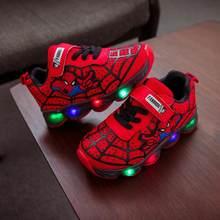 Led זוהר ספיידרמן ילדי נעלי בני בנות ילדי אור זוהר תינוק סניקרס רשת ספורט ילד ילדה Led אור נעליים(China)